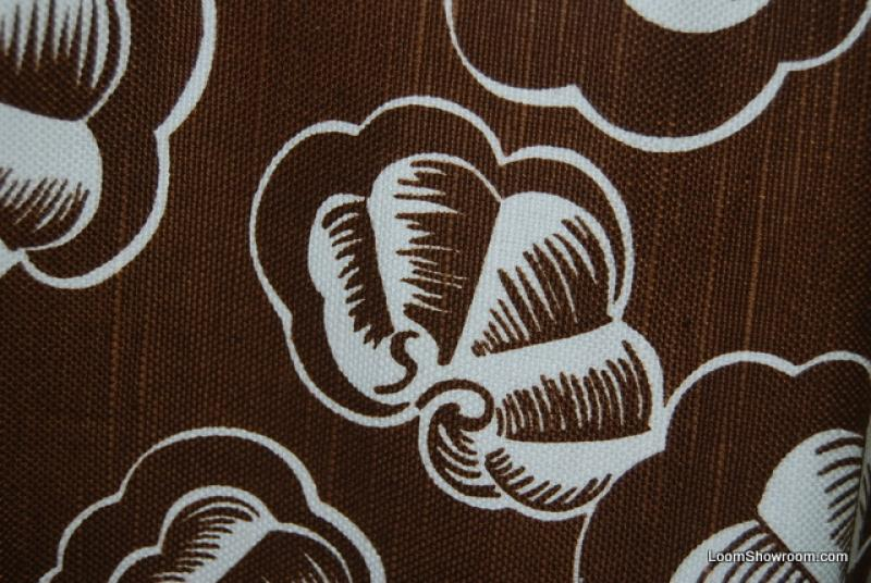 HD117 Modern Seashells Clams White on Brown background Cotton Fabric Drapery Fabric