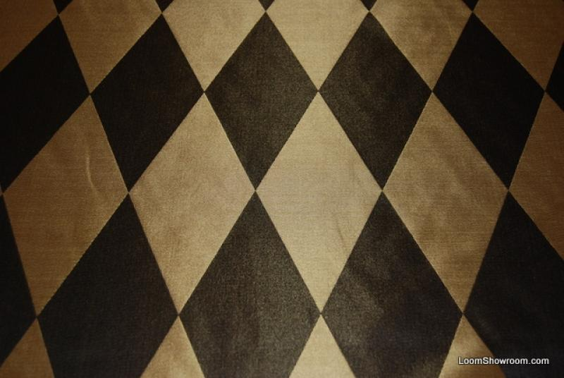 HD204 Black and Gold Harlequin Diamond Faux Silk Fabric Drapery ...