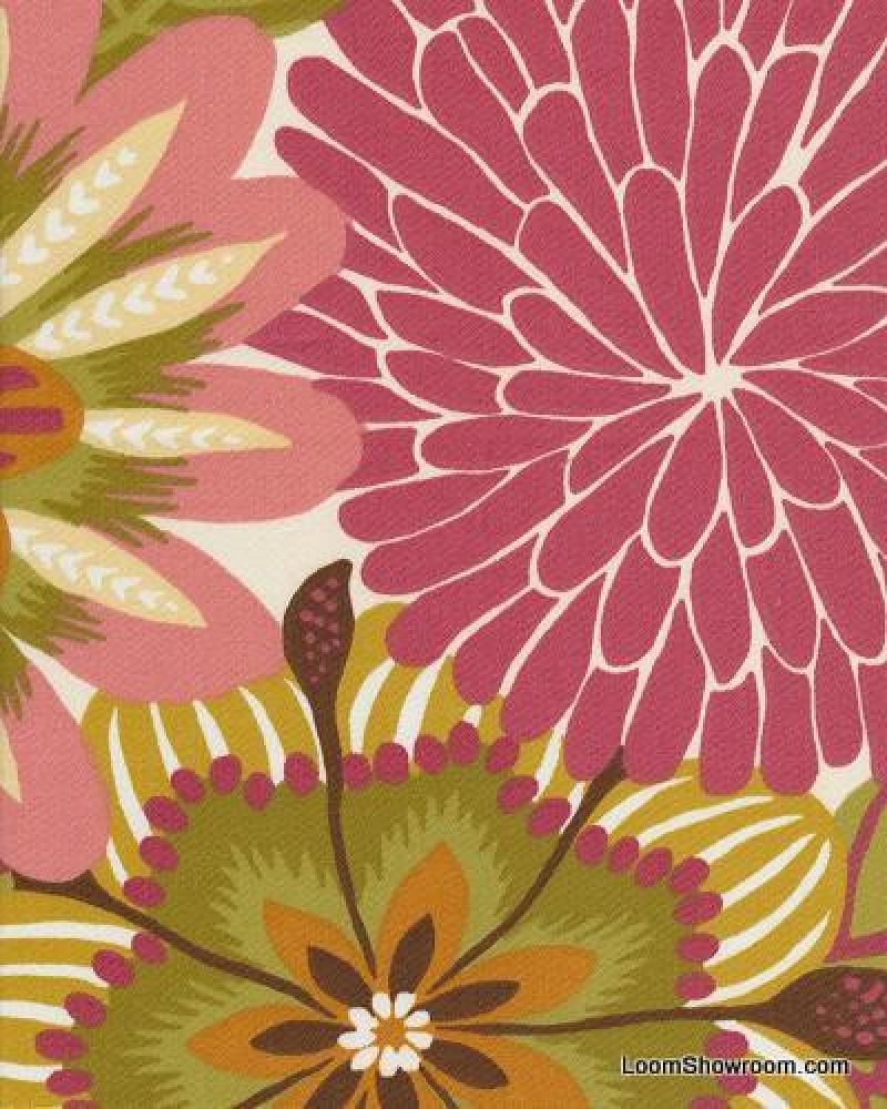 Robert Allen Dahlia Big Bold Floral Contemporary Scandinavian Modern Design Heavy Cotton Fabric Drapery Upholstery Fabric HD351