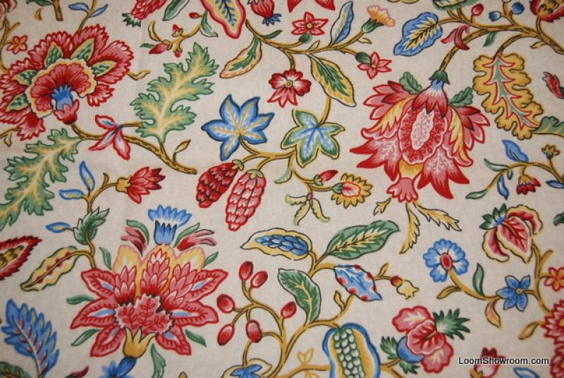 Jacobean Print Flower English Country Jacoby Floral Heavy Weight