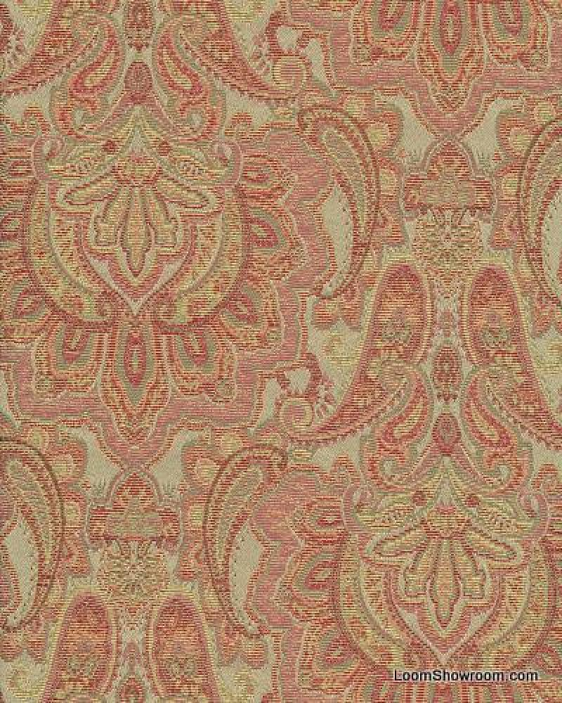 HD380 Taj Mahal Heavy Paisley Brocade Woven Cotton Fabric Sage Green and Dark Rose Colorway