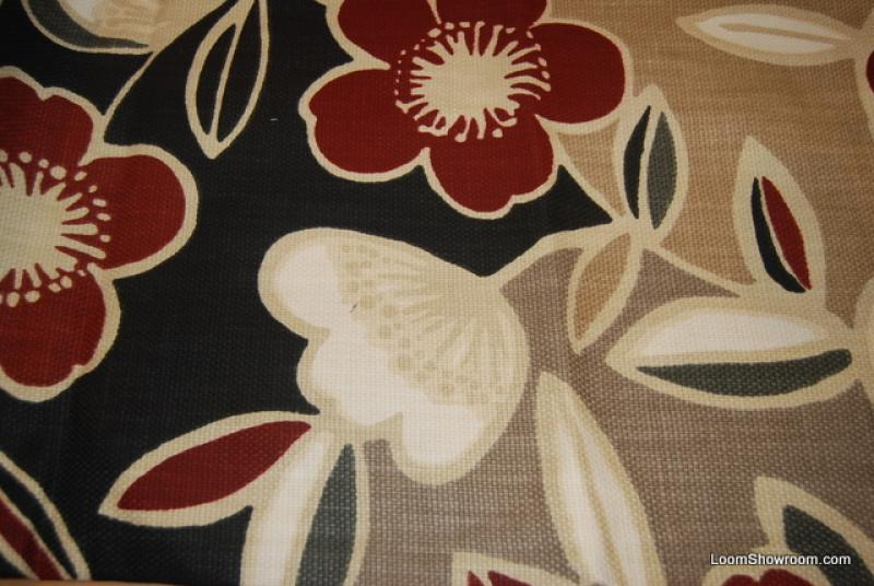 retro modern barkcloth heavy textured red white black tan flowers