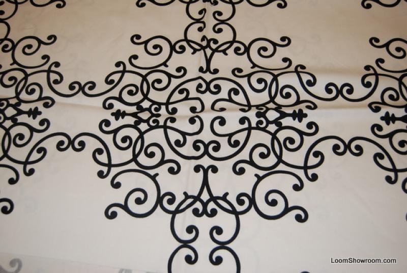 Dwell Studio Modern Retro Scrolls Black w/ White background Cotton ...