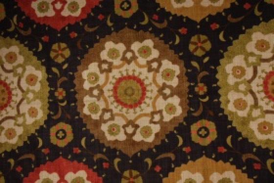 Suzani Retro Modern Heavy Weight Bark cloth Textured Cotton Fabric HD500