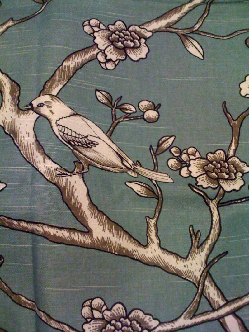 Dwell Studio Bird Floral Toile Print Modern and Clean Lined Cotton Fabric HD614