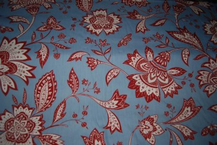 HD687 Floral Block Blue and Brick Red Cotton Fabric Heavy Weight