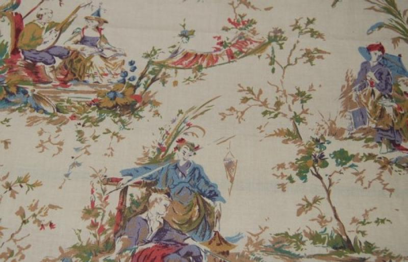 Toile China Asia Asian Toile Print Heavy Weight Cotton Fabric HD701