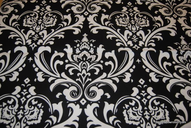Damask Print Black and White Bold Large Scale Print Heavy Weight ...