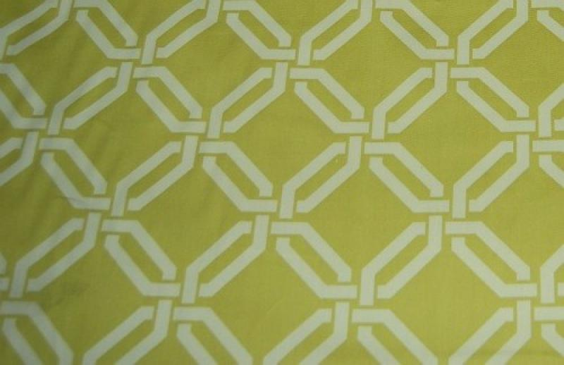 HD708 Contemporary Geometric Lime Green and White Lattice Print Cotton Fabric Heavy Weight