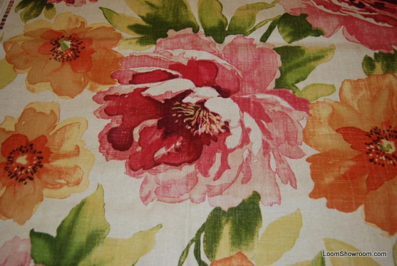 Amazing Linen Texture Modern Watercolor Floral Print Fabric Magenta Fuschia on Cream Background Cotton Fabric Slubby Drapery Fabric HD794