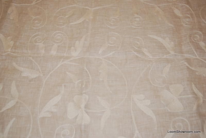 HD797 Kravet Semi Sheer Linen with Crewel Work Embroidery Incredible Drapery Fabric Home D�cor Fabric