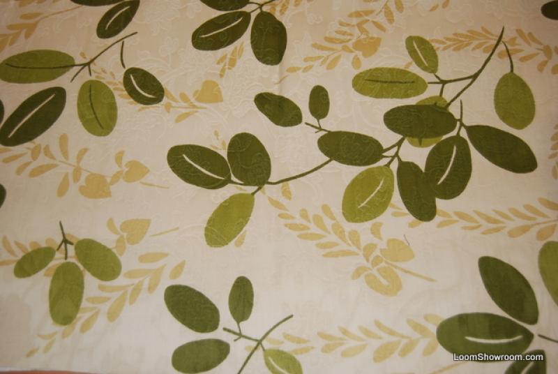 9 YARD BOLT! HD820 Scandinavian Modern Green and Dark Cream Leaf Twig Heavy Weight Cotton Fabric Drapery Fabric
