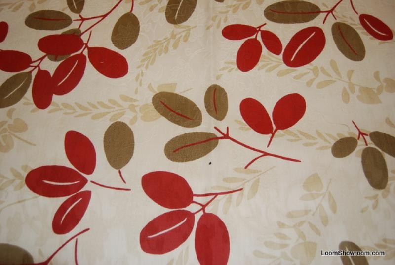 Scandinavian Modern Red Brown and Dark Cream Leaf Twig Heavy Weight Cotton Fabric Drapery Fabric HD821
