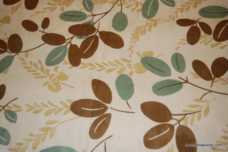HD822 Scandinavian Modern Blue Brown and Dark Cream Leaf Twig ...