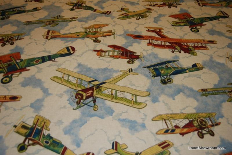 Airplane In Flight Classic Blue Sky Clouds Heavy Weight Cotton Fabric Drapery Fabric HD90