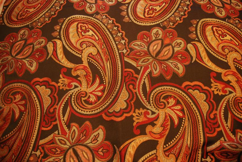 Paisley Brocade Heavy Chocolate Brown and Burnt Orange floral ...