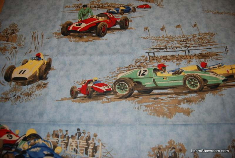 Race Day Vintage Style Race Cars Heavy Weight Cotton Fabric HDA022