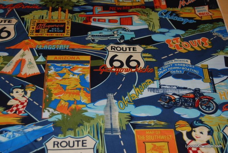 J46 Retro Route 66 Road Trip California Oklahoma Missouri Arizona Car Post Card Big Boy Cotton fabric Quilt fabric