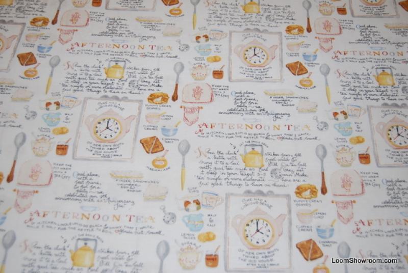 Tea Party Vintage Style Tea Cup Kitchen Tools Cotton Fabric Quilt Fabric J47