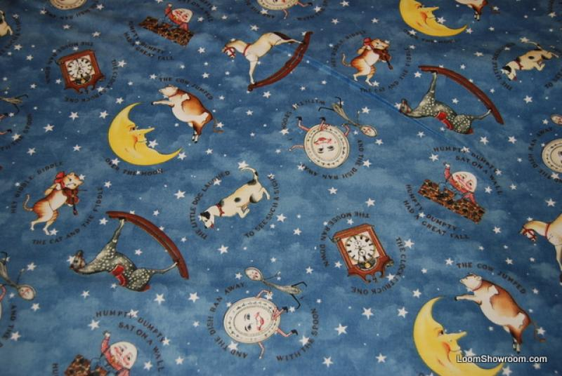 J55 Over the Moon Humpty Dumpty Mother Goose Nursery Rhyme Vintage Style Cotton Fabric quilt fabric