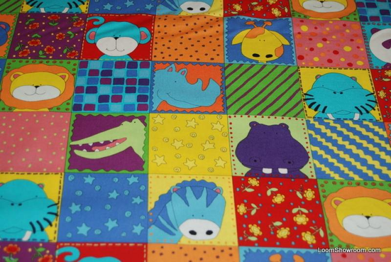 Retro Cartoon Animals Parade Tiger Lion Hippo Crocodile Zebra Giraffe Walrus Flowers Cotton fabric Quilt fabric J56