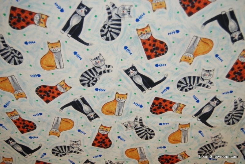 Fat Quarter! FQJ61 Cat Nip Kitty Kitten Fish Bone Fun Cotton Fabric Quilt Fabric - copy