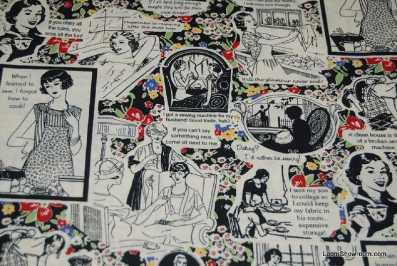 J64 Yenter Comic Retro Housework Whenever! Women Sewing Houswife Sewing Cotton fabric Quilt fabric