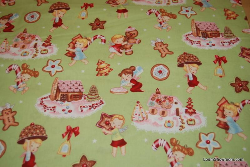 J66 Angel Cakes Alexander Henry Children Candy Canes Gingerbread House Cotton Fabric Quilt Fabric Retro and out of print