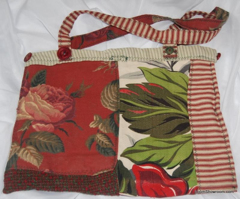 KCB11 Vintage Scrap Barkcloth Ticking Stripe Market Tote Bag Handcrafted Local Artist