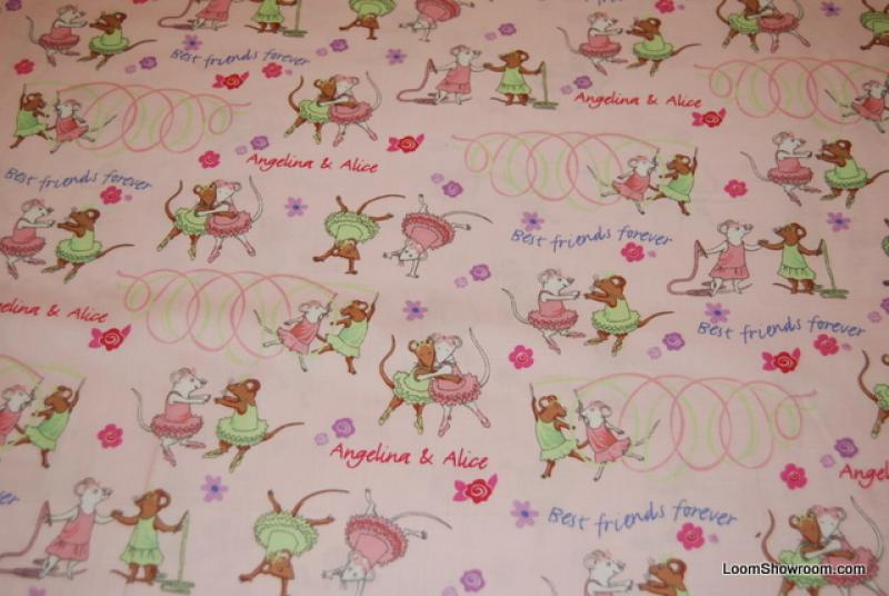 Angelina Ballerina and Alice Ballet Dancing Mice quilt fabric Pink Cotton Fabric L09