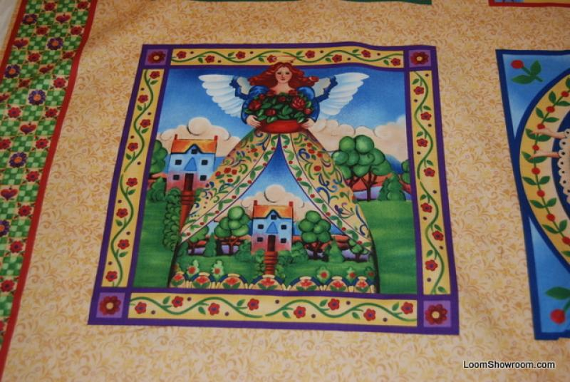 L25 Jim Shore Angels Among Us Panel light brown cotton fabric quilt fabric