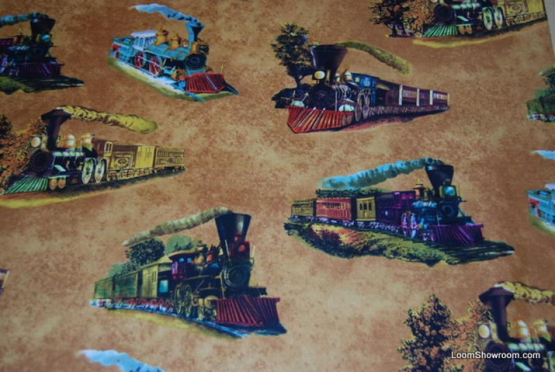 L28 Steam Engine Train Currier and Ives Lithograph Artwork quilt fabric light brown background cotton fabric