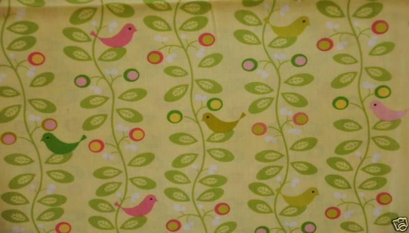 * L36 Retro Modern Bird Vine Leaf Quilt Cotton Fabric