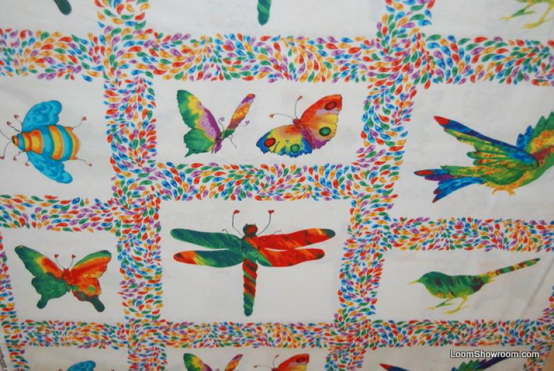 L40 Wing It Dragonfly Butterfly  Bird Panel White background block panel fabric watercolor art quilt fabric cotton fabric