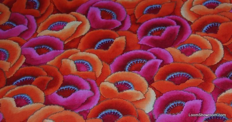 L62 Fete De Fleurs Poppy Flower Modern Floral Graphic Design Cotton