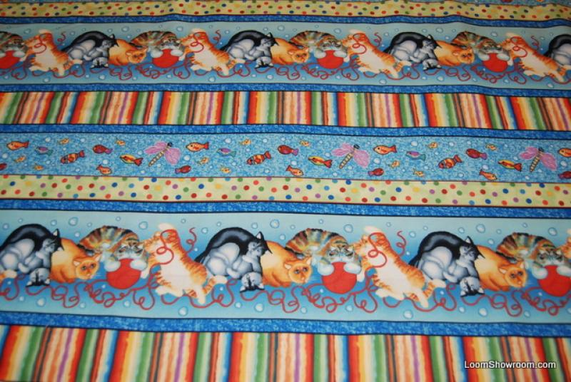 FF45 The Cat Party Kitty Cats yarn baby blue background cotton fabric quilt fabric