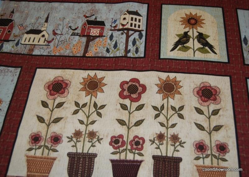 L76 Birdhouses Warren Kimble Folk Art Country Style Panel Cotton Fabric Quilt FabricRed Brick Background