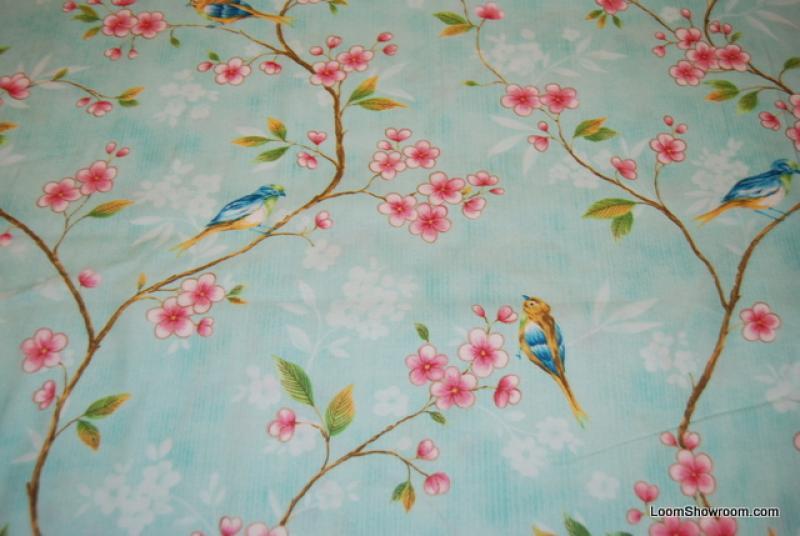 L79 Birds and Flowers Aqua background Vintage Bird Cherry Blossom Branch quilt fabric cotton fabric