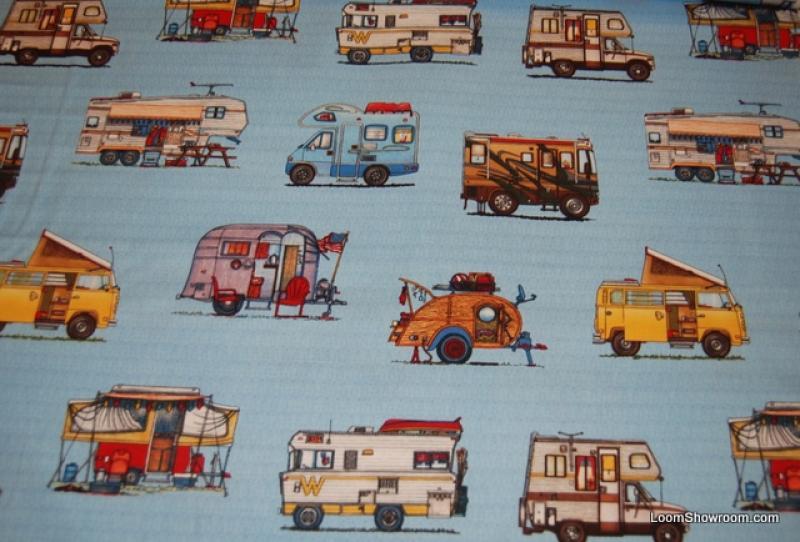 L81 RV's Retro Campers Winnebago Carravan quilt fabric Light blue background cotton fabric