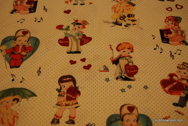 L86 Vintage Valentines Heart Boys and Girls quilt fabric Off white background cotton fabric