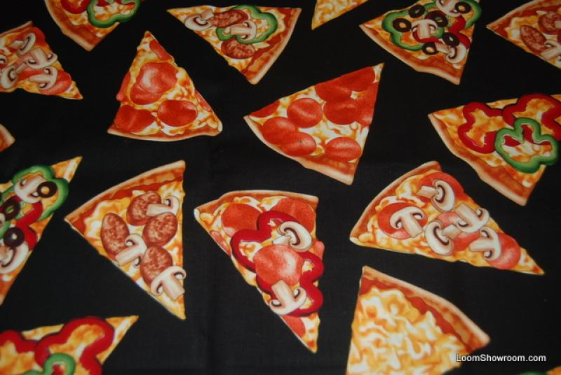 Food Pizza Slice Pepperoni Mushroom Cheese LM19 Italian Food Yummy Junk Snack Food Cotton Fabric Quilt Fabric