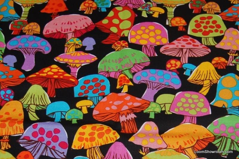 Psychedelic Groovy Retro Mushroom LM22 Cotton Fabric Quilt Fabric