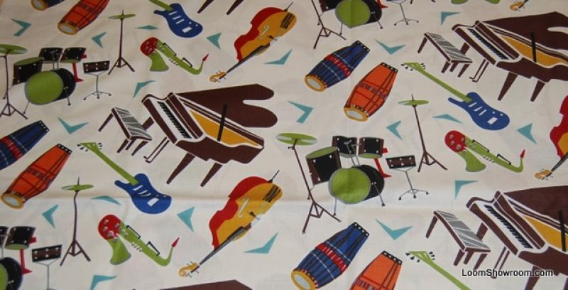 All That Jazz Musical Instruments LM29 Piano Drums Bongo Guitar Sax Music Cotton Fabric Quilt Fabric