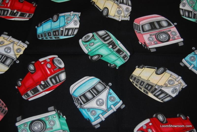 VW Micro Bus Vintage Retro Volkswagon Van LM48 Grateful Dead Deadhead Flower Power Cotton Fabric Quilt Fabric