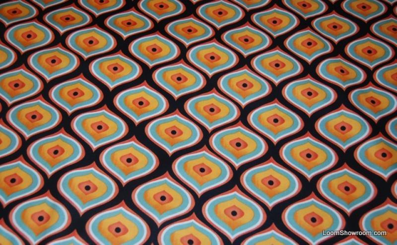 N110 Proud Peacock Feather Eye Graphic Orange and Black Pattern ... : orange quilt fabric - Adamdwight.com