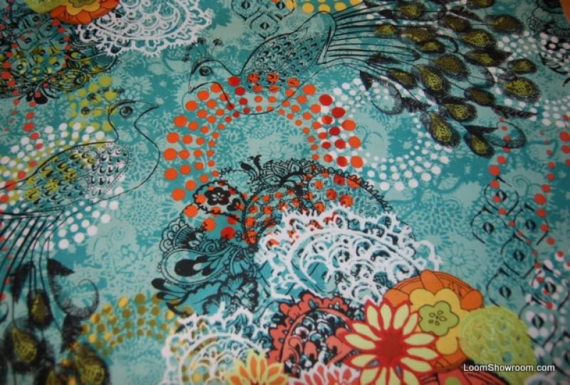 Peacock Proud Bird Asia Peacock Feather Collage Graphic cotton fabric quilt fabric N125