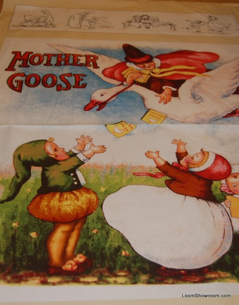 Mother Goose Nursery Rhyme Vintage Style Large Panel cotton fabric quilt fabric PNL70