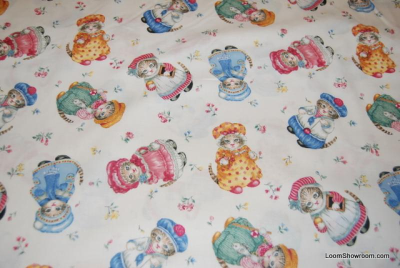 N171 Kitty Cucumber Kittens Cat Wearing colorful outfits Oh So Retro and Cute! Cotton Fabric Quilt Fabric
