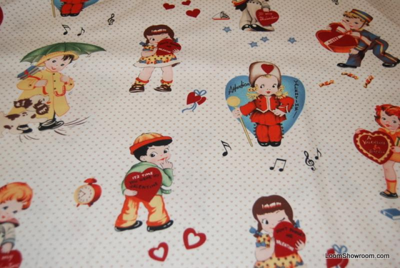 n25 love notes vintage valentines day cards kids cotton fabric quilt fabric
