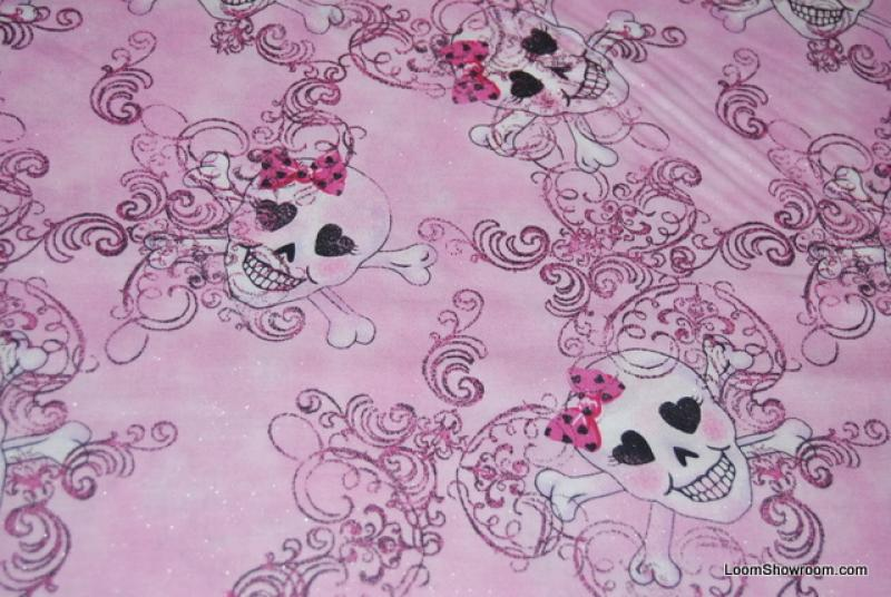 N86 Skull and Crossbones Outsider Art Goth Style Pink Hearts and Bows Cotton Fabric Quilt Fabric